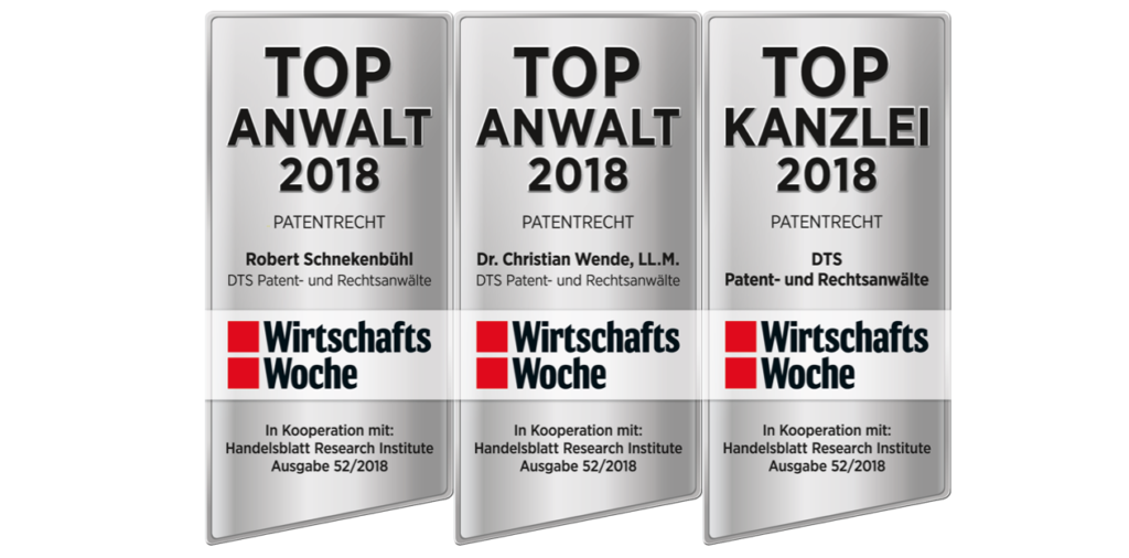 "DTS is ""TOP KANZLEI 2018"" in ""patent law"" according to WirtschaftsWoche-Rating edition 52"